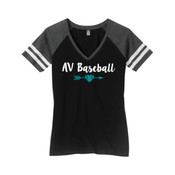 Ladies V-Neck Striped Shirt - Ladies Game V Neck Tee